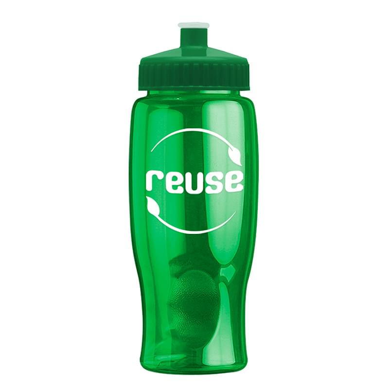 HOT DEAL - 27 oz. Poly-Pure Transparent Sports Bottle -Push Pull Lid