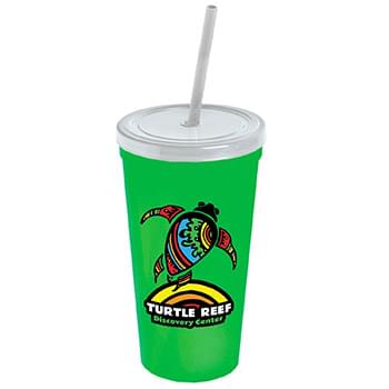 24 oz. Stadium Cup with Straw and Lid - Digital