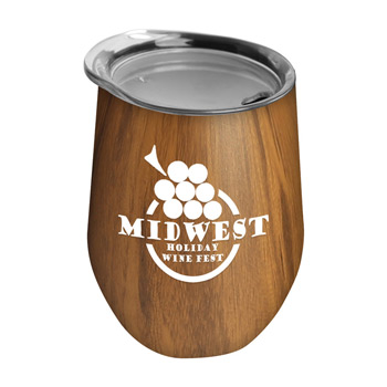 Woody 10 oz Stainless Steel Wine Glass Tumbler