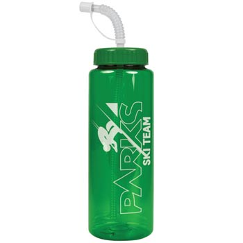 The Guzzler - 32 oz. Trans. Color Bottle-Straw Lid